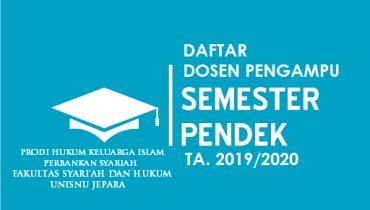 Jadwal Pelaksanaan Semester Pendek /Semester Antara FSH UNISNU Jepara Tahun 2019/2020