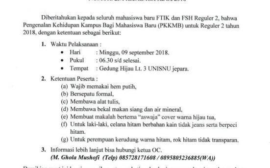 Pengumuman Pengenalan Kehidupan Kampus Mahasiswa Baru (PKKMB) Untuk Reguler 2