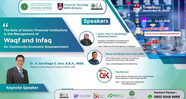 International Webinar Management of Waqf and Infaq Prodi Perbankan Syariah & Universitas Teknologi Mara Malaysia